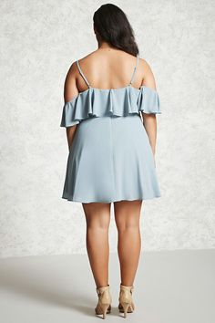 Forever 21+ - A woven fit and flare dress featuring an open shoulder, adjustable cami straps, a flounce layer, short flounce sleeves, a self-tie front, and a hidden back zipper.
