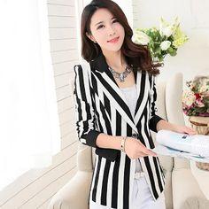 3a7a57ab44790 Blazers 2019 Women Blazer Jackets Black And White Stripes Blazer Outerwear Plus  Size 3XL blaser feminino. Bestsellinglover. 6842 New Fashion ...