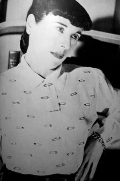 Edith Head's solution to the lack of luxury textiles available during  WWII: hand painted safety pin blouse with real safety pins as a  substitute for buttons