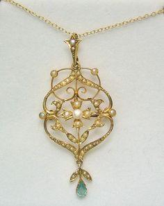 Pearl Aquamarine Lavalier Pendant Brooch Necklace
