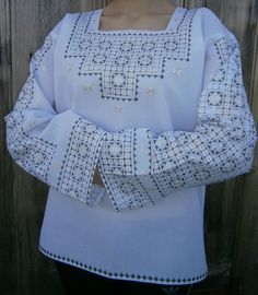 Ukrainian embroidered blouse for women (vyshyvanka) with traditional embroidery, sewed as per custom measurement of the client. Embroidery handmade by masters of the Carpathians, which you will really be proud of. Embroidery Software, Hand Embroidery Stitches, Embroidery Machines For Sale, Afghan Clothes, Lace Art, Sewing Pants, Sleeve Designs, Blouse Styles, Couture