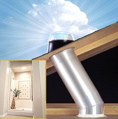 Tubular skylights-- really like the idea of adding these to rooms where a normal skylight couldn't go. This is a must in the bathroom shower!!