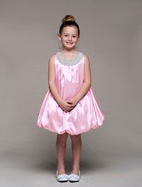 Flower Girl Dresses - Girls Dress Style 950- Charmeuse Dress with Pearl Beaded Collar
