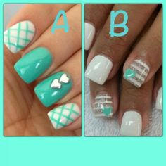 O2's National Convention is right around the corner. Which nail design should I wear for convention??? A or B Melissa Gale, Origami Owl Designer. www.thesparklingowls.blogspot.com #origamiwol #nails #teal