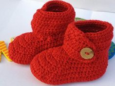 #HolidayShopping #ChristmasGifts. #BabyGifts NEW Red Crochet Baby Booties Newborn Crochet Shoes by BabyGirlsGlam, $12.99