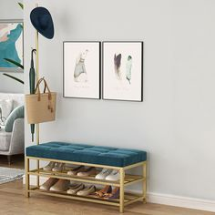Entryway Upholstery Shoe Bench with Coat Rack Shoe Bench, Bench With Shoe Storage, Modern Entryway, Entryway Decor, Modern Shoe Rack, Coat And Shoe Rack, Shoe Shelves, Storage Rack, Wood Colors