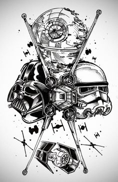 star wars - Darth Vader, stormtrooper, the Death Star, TIE fighter, and X-Wing