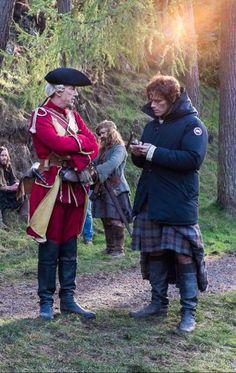 Break between takes! Sam Heughan ~ Outlander #jamiefraser