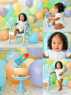 Pastel Colored Balloon Party Cake Smash