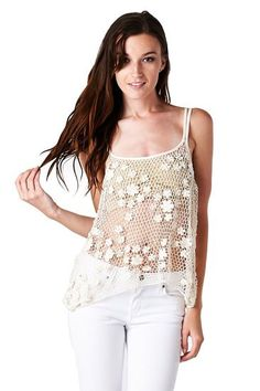 See-Through Crochet Knit Tank Top – Jubilee Couture