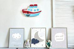 Ship Wall Light Marine children's room Ship wall decor | Etsy Kids Room Lighting, Room Lights, Wall Lights, Cloud Night Light, Nursery Night Light, Water Based Acrylic Paint, Bedside Lamp, Baby Room, Playroom