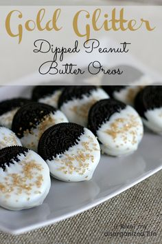Gold Glitter Dipped Peanut Butter Oreos with white melting chocolate - so easy and pretty