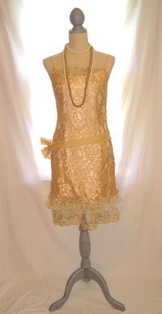 Vintage gold color lace thin strap womens great gatsby slip dress ruffled lace and skirt women's long formal party dress, shabby urban chic by 777DressCode, $96.75