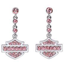 Women's Pink Label Rhinestone Bar & Shield Logo Earrings | MotorClothes® Merchandise | Harley-Davidson USA