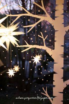 Adventsfenster+gross+Schneelandschaft+Papier+Kreidemarker+Kreidestift+malen+ Basteln+