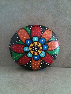 Folk Art Flower Painting Stone / Rock by SoulJules on Etsy, 8.00