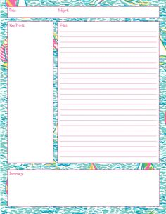 Lilly Note Taking Printables!  Also in First Impression, Get Nauti, Crown Jewels, and Summer Classics prints! Taking Notes, College Note Taking, Note Taking Tips, School Organization Notes, School Notes, Law School, Planner Organization, Organizing, Cornell Note Taking Template