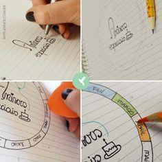 Utilize a página com linhas do My Planner Colibri para organizar, em forma de gráfico colorido, os aniversários especiais, aqueles que não pode esquecer de maneira alguma. É rapinho e fácil desenhar este gráfico no seu My Planner. Utilize um compasso ou algum objeto redondo para usar como base. Faça os traços com o lápis, como um rascunho, e depois que ficar como você quer apague com a borracha. Assim o medo de errar vai embora!
