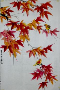 Traditional Chinese Landscape Painting - Bing Images. Not so keen on the birds, but the red maple leaves seem perhaps doable.