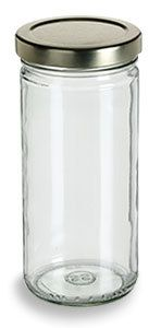 Specialty Bottle - 8 oz Clear Tall Glass Jar with Gold Lid, $0.84 (http://www.specialtybottle.com/glass-jars/clear-straight-sided/tall-metal-lid/8oz-tal8)