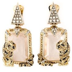 Roberto Cavalli Swarovski Crystal Drop Earrings ($833) ❤ liked on Polyvore featuring jewelry, earrings, orecchini, accessories, joias, metallic, swarovski crystal earrings, roberto cavalli, swarovski crystals jewelry and roberto cavalli earrings