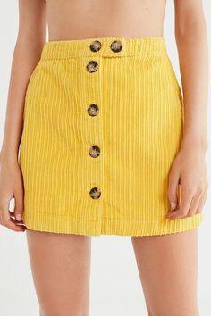 38cbd658906 Slide View  6  UO Jumbo Corduroy Button-Down Mini Skirt Yellow Mini Skirt