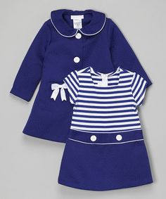 Take a look at this Navy Bow Peacoat & Stripe Dress - Infant & Toddler on zulily today!