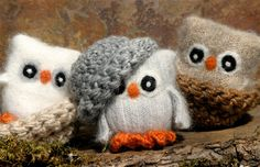 Owls made from recycled sweaters