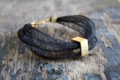 black mesh bracelet / mesh wire bracelet / industrial inspired /modern style bracelet
