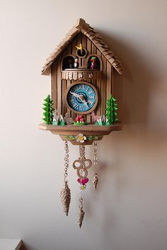 Cuckoo like this Wood Clocks, Antique Clocks, Disney Clock, Cardboard Sculpture, Cardboard Art, Coo Coo Clock, Little Green Notebook, Wall Clock Design, Clock Art