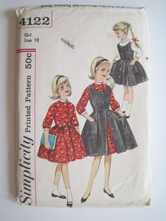 Back to school dress and jumper pattern for girls, 1950s or 1960s, size 10, 28 chest, Madmen, retro vintage sewing pattern, Simplicity 4122