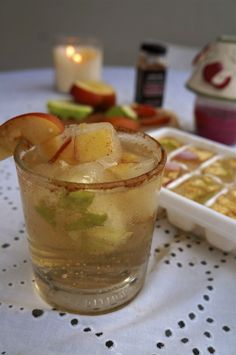 Vodka and sparkling apple cider with apple-cinnamon ice cubes