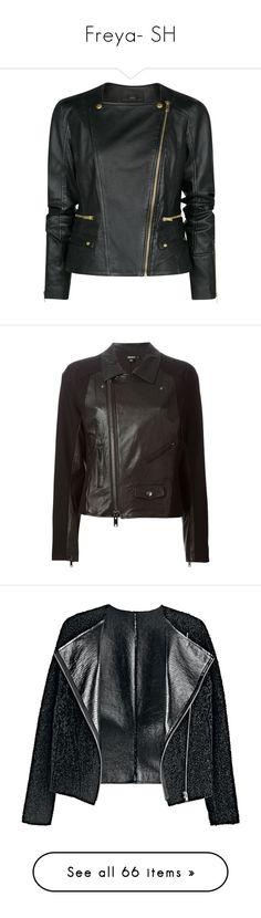 """Freya- SH"" by inestrindade on Polyvore featuring outerwear, jackets, leather jacket, coats, black, moto jacket, asymmetrical zip leather jacket, rider leather jacket, asymmetrical zipper jacket and asymmetrical zip moto jacket"