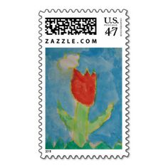 Art by Children, #Watercolor Painting,Tulip, #Stamps