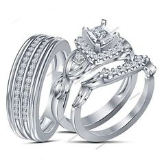 Peg Head 1.20CT VVS1 Diamond 925 Silver Couple Wedding Trio Ring Set (Size 5-14) #aonejewels
