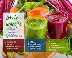 Koktajle warzywne Smoothie Drinks, Fruit Smoothies, Juice Smoothie, Smoothie Recipes, Diet Recipes, Healthy Recipes, Juice Ad, Healthy Detox, Healthy Juices