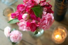 bougainvillea and camellia flower arrangements