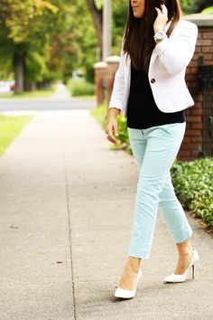 white blazer, mint pants