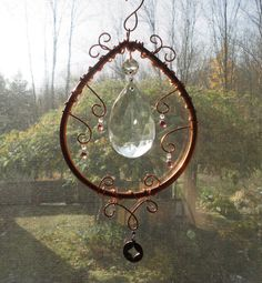 SALE Moon Drop Copper Sculpture Mobile Wall by JewelsInTheGarden