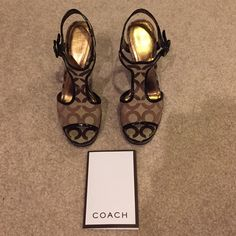 Coach Shoes Brown Coach Heels. Only worn once! Gently worn. Wear it with skinny jeans or a cute summer dress! Comes with original box. Coach Shoes Heels