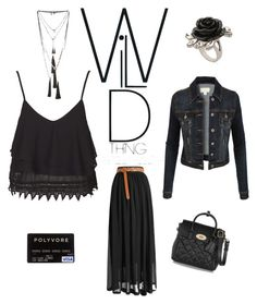 """""""brunch in black"""" by im-karla-with-a-k ❤ liked on Polyvore featuring Topshop, LE3NO, Mawi and Mulberry"""