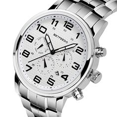 awesome Watches Men Luxury Brand Chronograph Men Sports Watches Waterproof Full Steel Quartz Men's Watch (White)