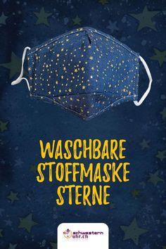 Maskenpflicht einhalten und die Umwelt entlasten mit unseren bunten Stoffmasken. Waschbar bis 60°. Ohrband in Länge verstellbar.  Jetzt bei schwesternuhr.ch bestellen! - Ohne Versandkosten. Schweizer Unternehmen.  #schwesternuhrch #schwesternuhr #maske #hygienemaske #stoffmaske #mundschutz Blue Mask, Comfortable Work Shoes, Funny Hoodies, Protective Mask, Sisters, Business