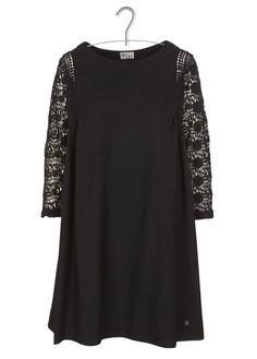 Robe courte ample en laine avec guipure Noir by STELLA FOREST