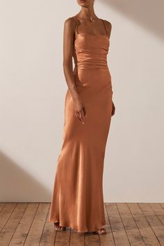 Orange Gown, Orange Prom Dresses, Pretty Prom Dresses, Fabulous Dresses, Ball Dresses, Silk Formal Dress, Silk Midi Dress, Formal Dresses, Lace Up Back Dress
