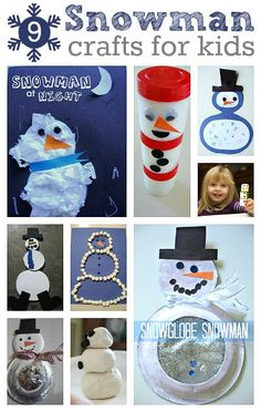 9 Snowman Crafts For Kids - Pinned by @PediaStaff – Please Visit ht.ly/63sNt for all our pediatric therapy pins