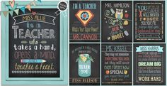 Personalized Teacher Chalkboard Style Art Prints | Jane