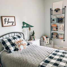 Classic buffalo check in a fresh modern palette. The Gwyneth Duvet Cover layers effortlessly with our Edith Vine, Jardin Toile and Audree Pom Pom Bedding. Modern Boys Rooms, Shared Boys Rooms, Little Boys Rooms, Little Boy Bedroom Ideas, Toddler Boy Room Decor, Toddler Rooms, Boys Bedroom Decor, Toddler Bedding Boy, Toddler Boy Beds