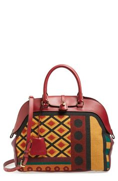 Burberry 'Large Milverton' Geometric Tapestry Bowling Bag available at Burberry Handbags, Leather Handbags, Burberry Bags, Burberry Prorsum, Bags 2014, Bowling Bags, Beautiful Bags, Swagg, Purse Wallet