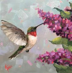 """Daily Paintworks - """"Buzzin Around"""" - Original Fine Art for Sale - © Krista Eaton Watercolor Bird, Watercolor Paintings, Hummingbird Painting, Red Hummingbird, Hummingbird Pictures, Decoration Patisserie, Mini Canvas Art, Bird Drawings, Painting & Drawing"""